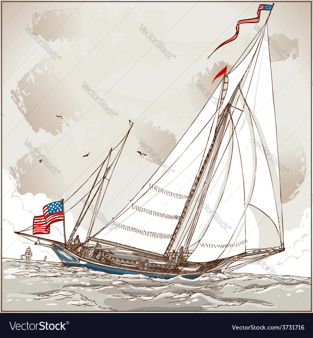 Vintage view of american yacht in regatta vector | Price: 3 Credit (USD $3)