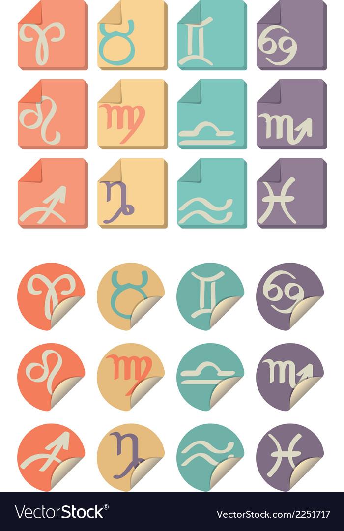 All zodiac symbol icon vector | Price: 1 Credit (USD $1)