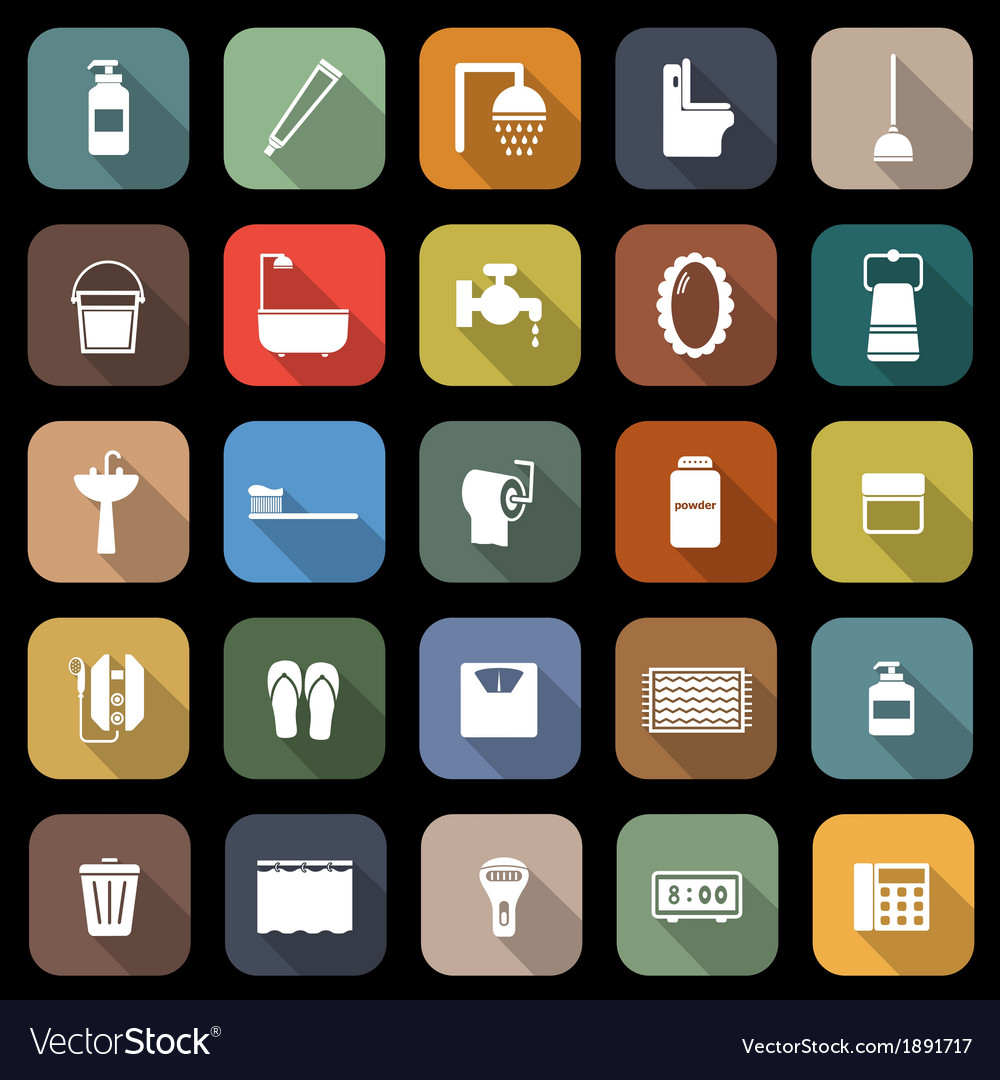 Bathroom flat icons with long shadow vector | Price: 1 Credit (USD $1)