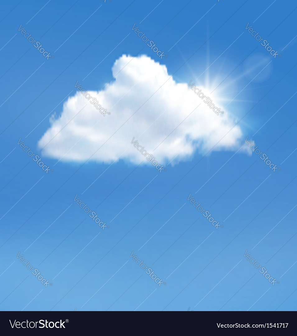 Blue sky with cloud and sun background vector | Price: 1 Credit (USD $1)