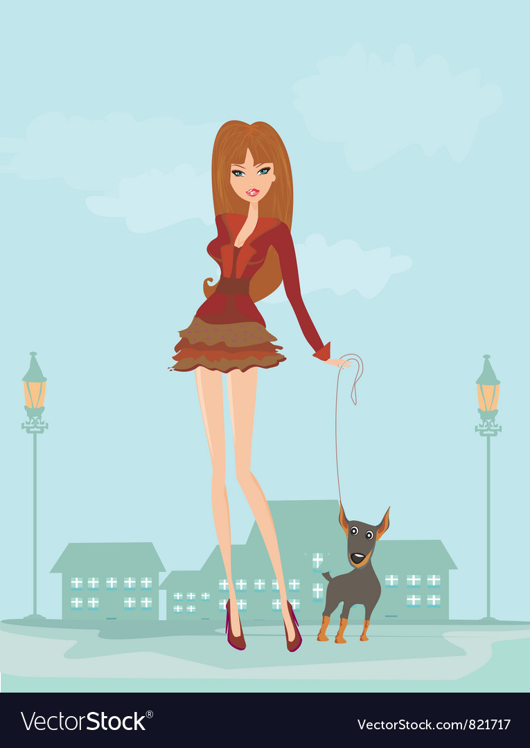 Girl and her puppy vector | Price: 3 Credit (USD $3)