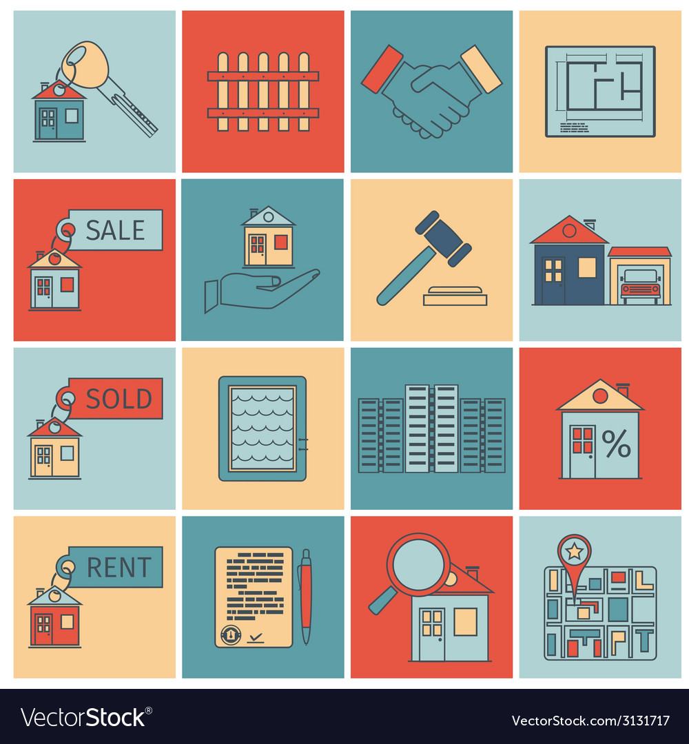 Real estate flat line icons vector | Price: 1 Credit (USD $1)