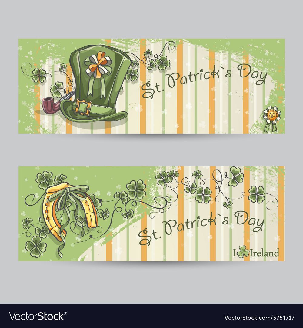 Set of horizontal banners for st patricks day vector | Price: 1 Credit (USD $1)