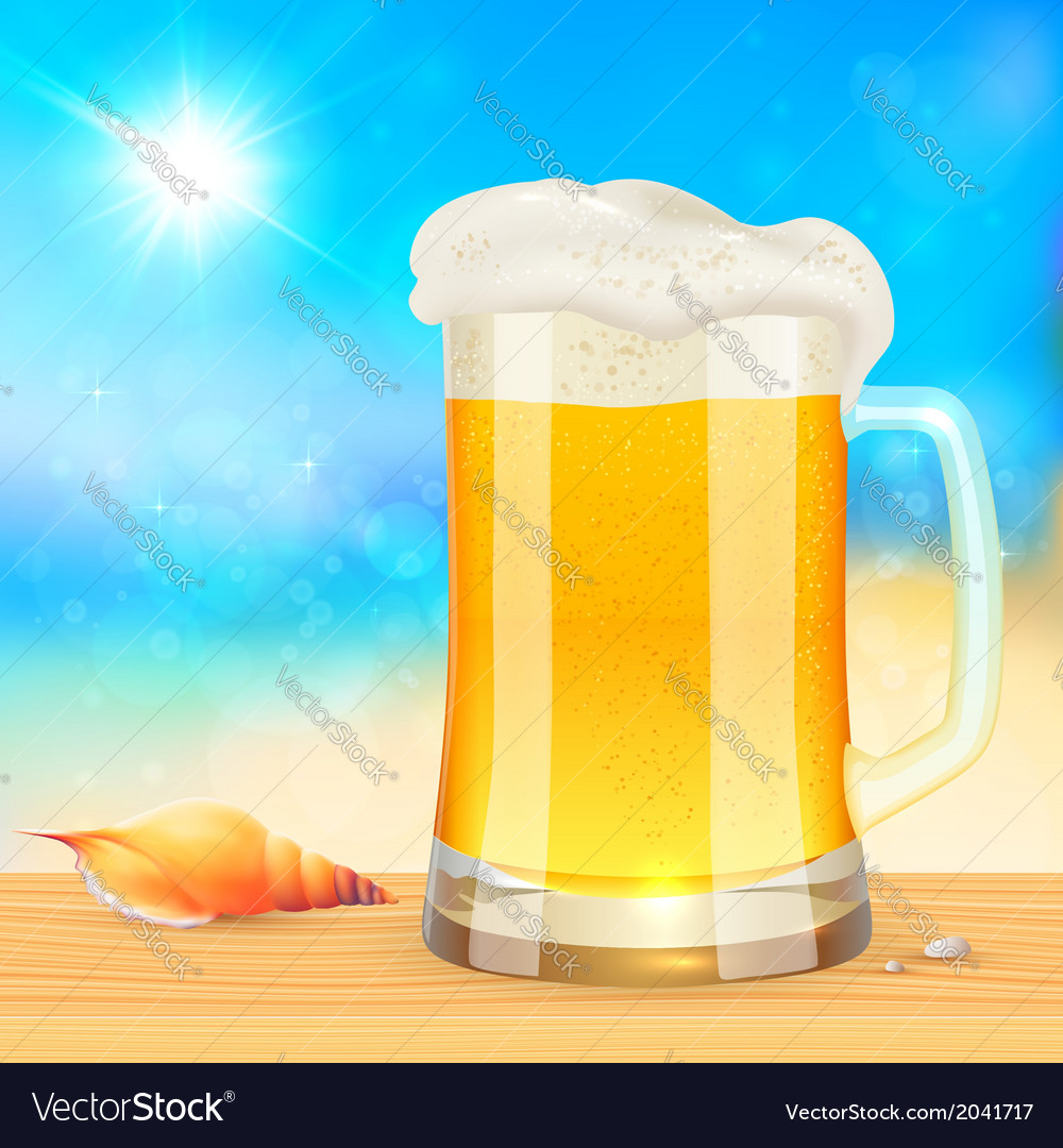 Summer mug of fresh beer on seascape background vector | Price: 1 Credit (USD $1)