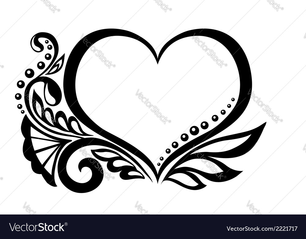 Symbol of a heart with floral design vector | Price: 1 Credit (USD $1)