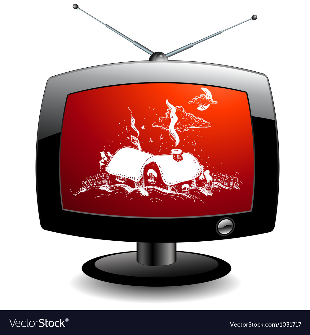Tv icon with christmas village vector | Price: 1 Credit (USD $1)