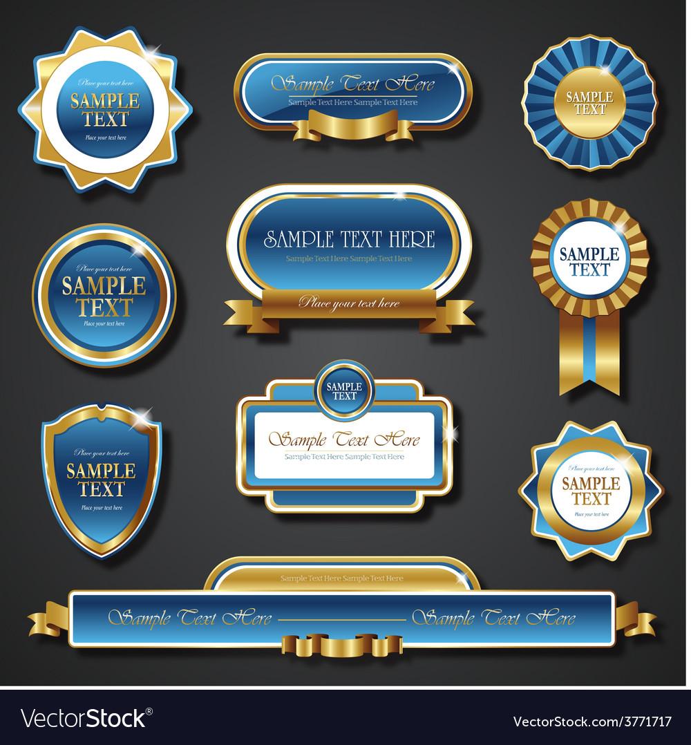 Vintage blue gold frame banners vector | Price: 3 Credit (USD $3)