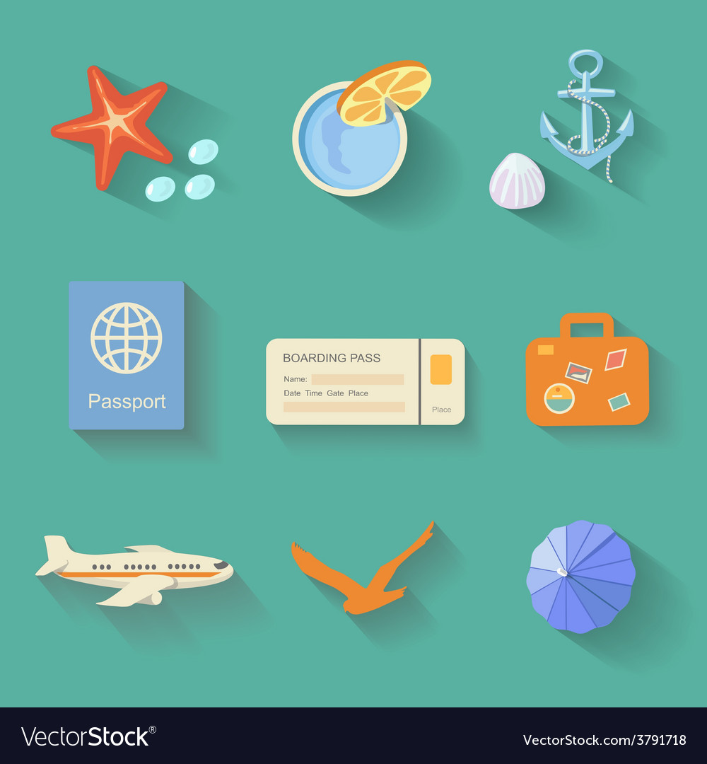Beach icons in flat style vector | Price: 1 Credit (USD $1)