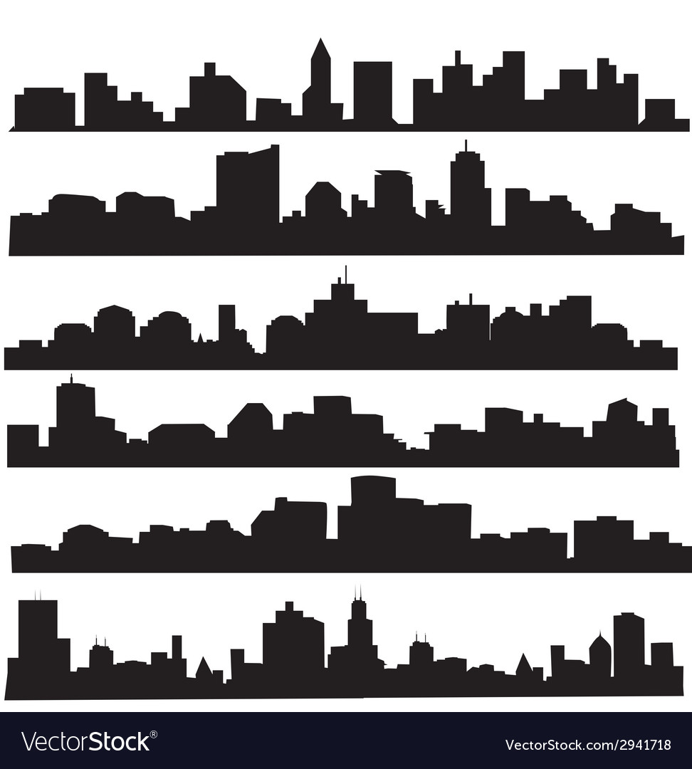 City skyline silhouette set vector | Price: 1 Credit (USD $1)