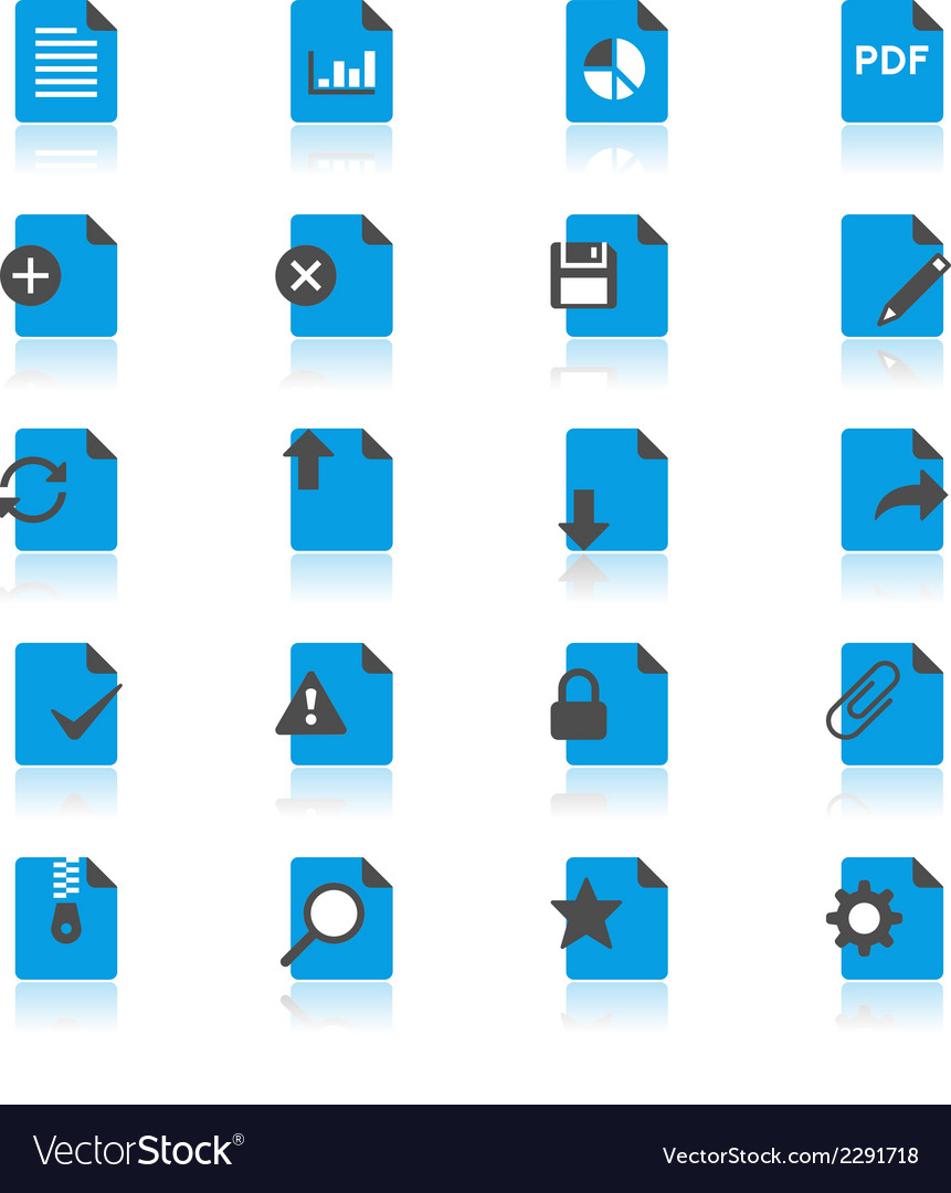 Document flat with reflection icons vector | Price: 1 Credit (USD $1)