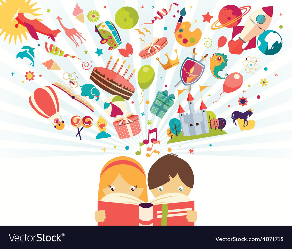 Imagination concept boy and girl reading a book vector | Price: 1 Credit (USD $1)