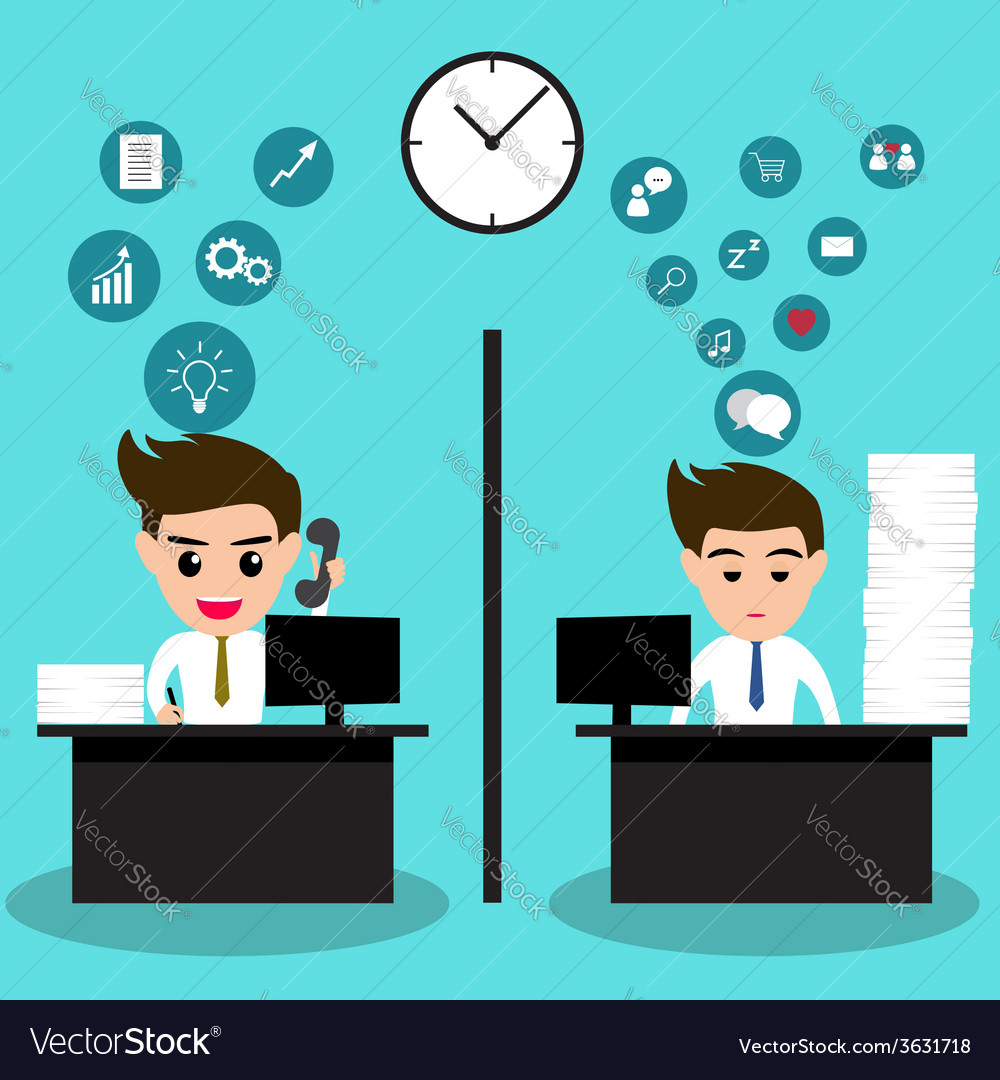 Lazy and active business man in same office vector | Price: 1 Credit (USD $1)