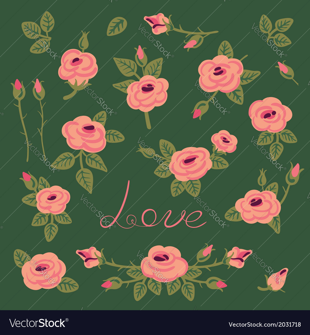 Set of vintage roses for design vector | Price: 1 Credit (USD $1)