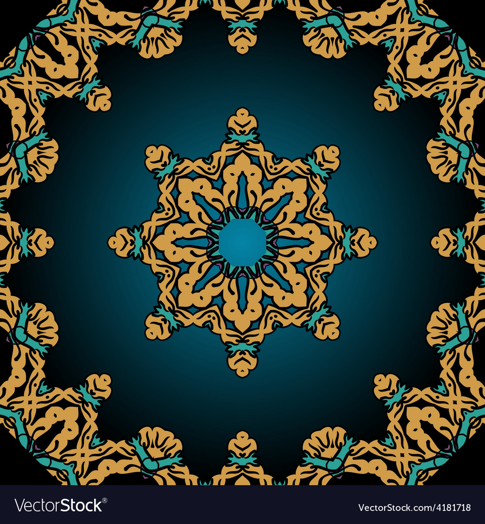 Stylized flower and frame border in tibet tribal vector | Price: 1 Credit (USD $1)