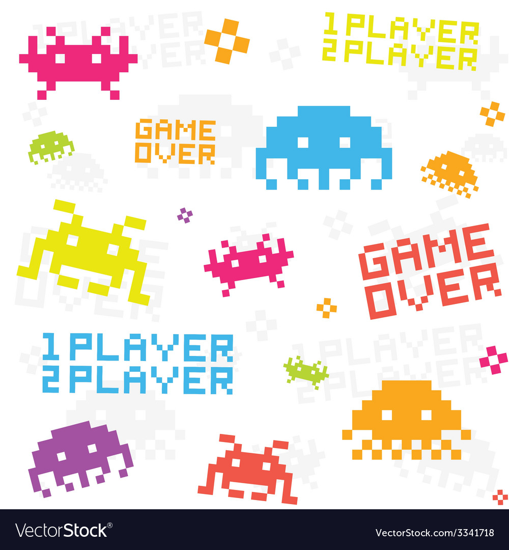 White space invaders pattern vector | Price: 1 Credit (USD $1)