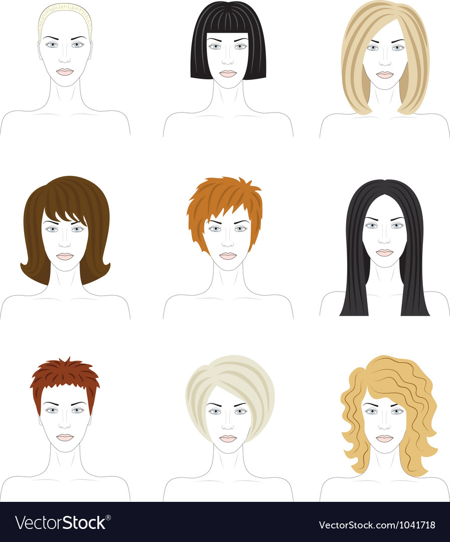 Woman hairstyle set vector | Price: 1 Credit (USD $1)