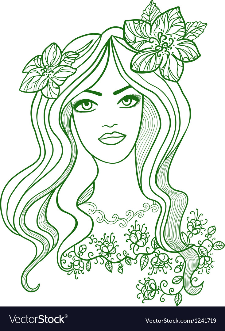 Artistic drawing of a beautiful girl with flowers vector | Price: 1 Credit (USD $1)