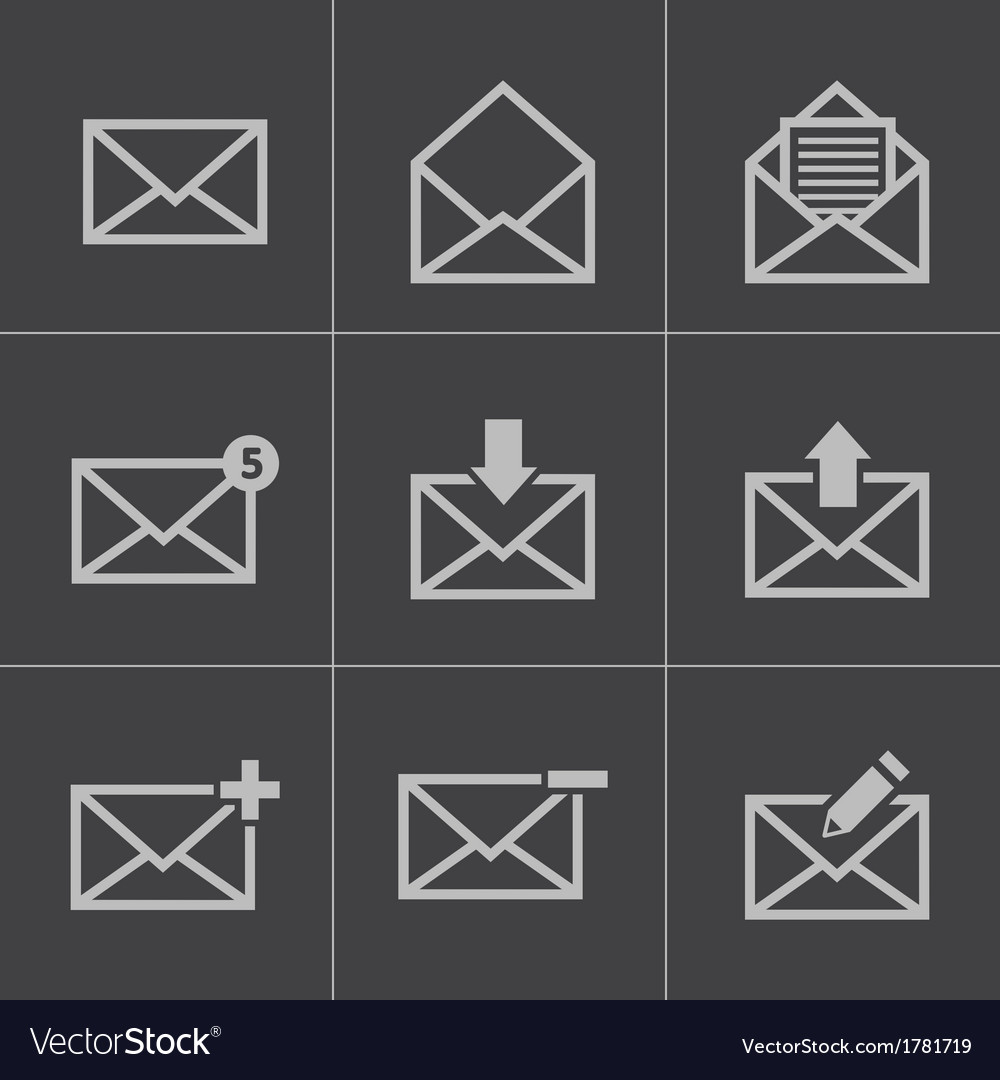Black email icons set vector | Price: 1 Credit (USD $1)