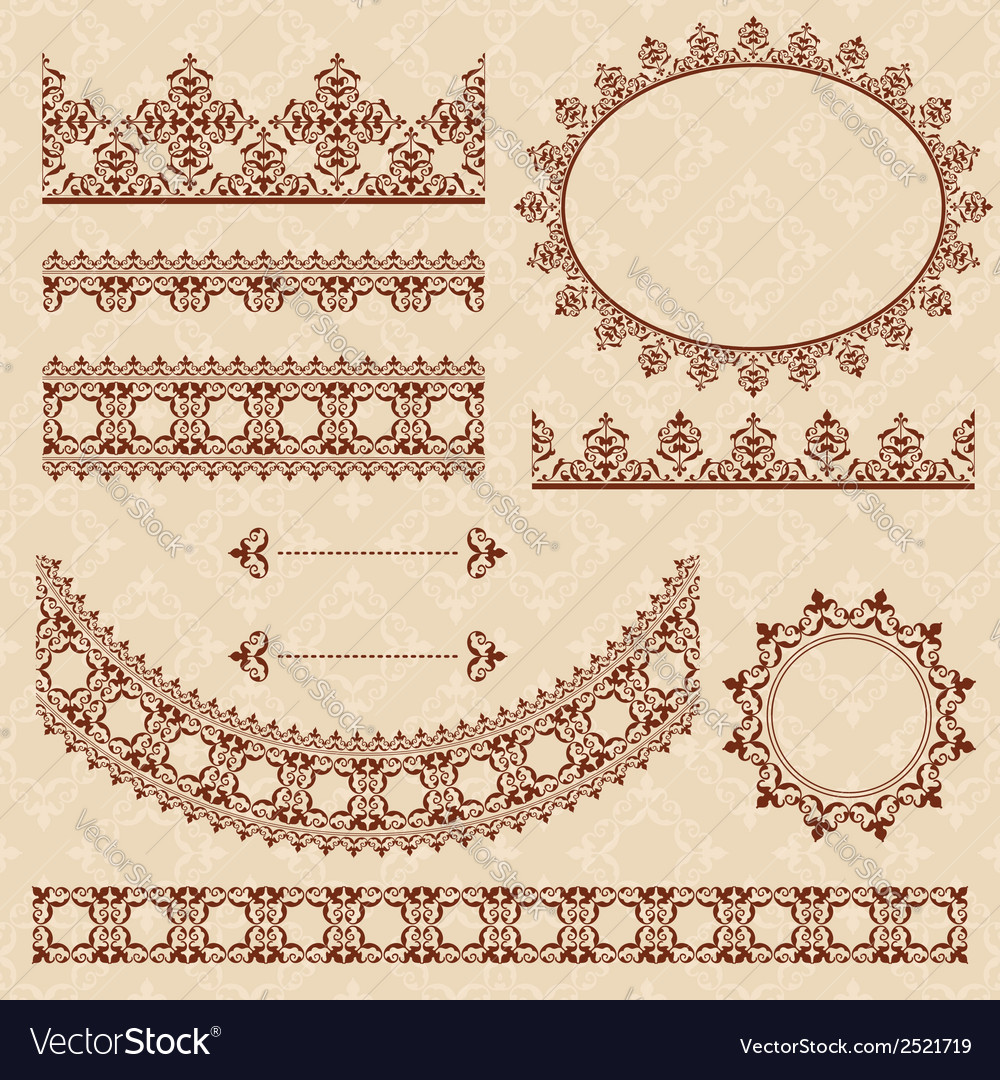 Brown arabic ornamental elements vector | Price: 1 Credit (USD $1)