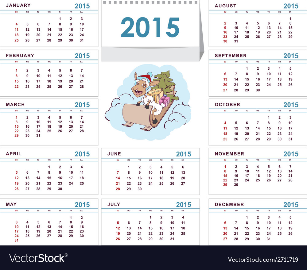 Desk calendar 2015 template vector | Price: 1 Credit (USD $1)