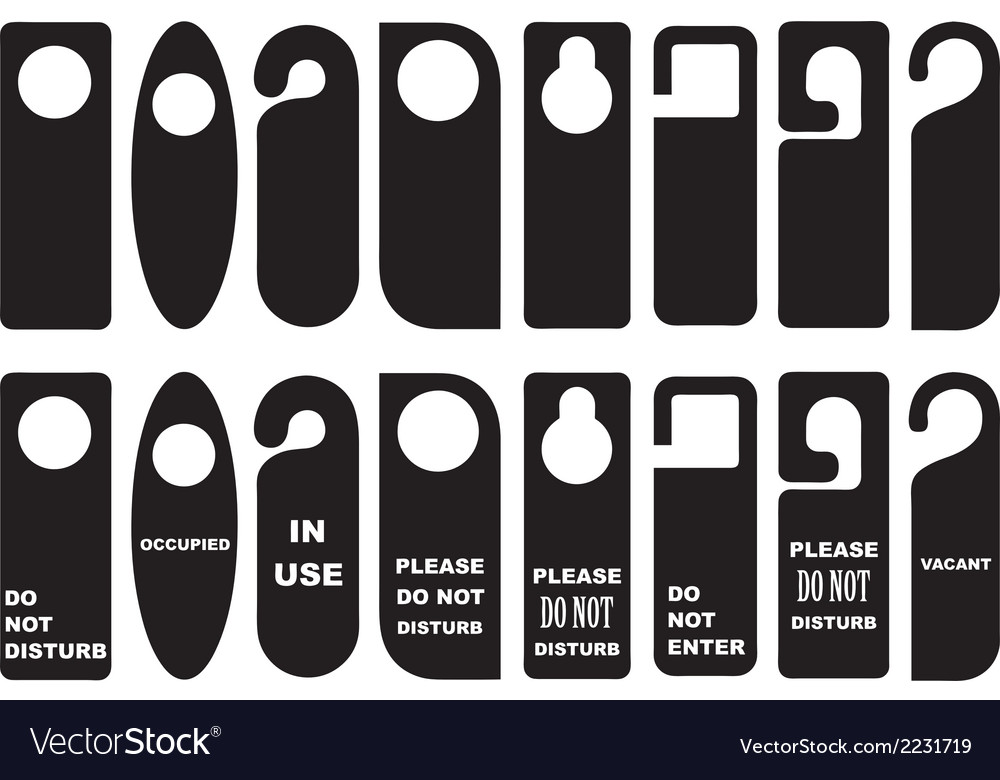 Door knob hangers set vector