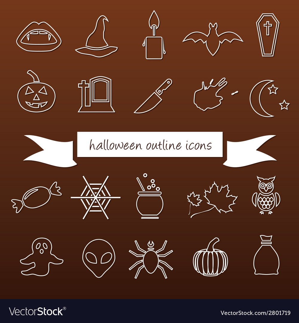 Halloween outline icons vector | Price: 1 Credit (USD $1)