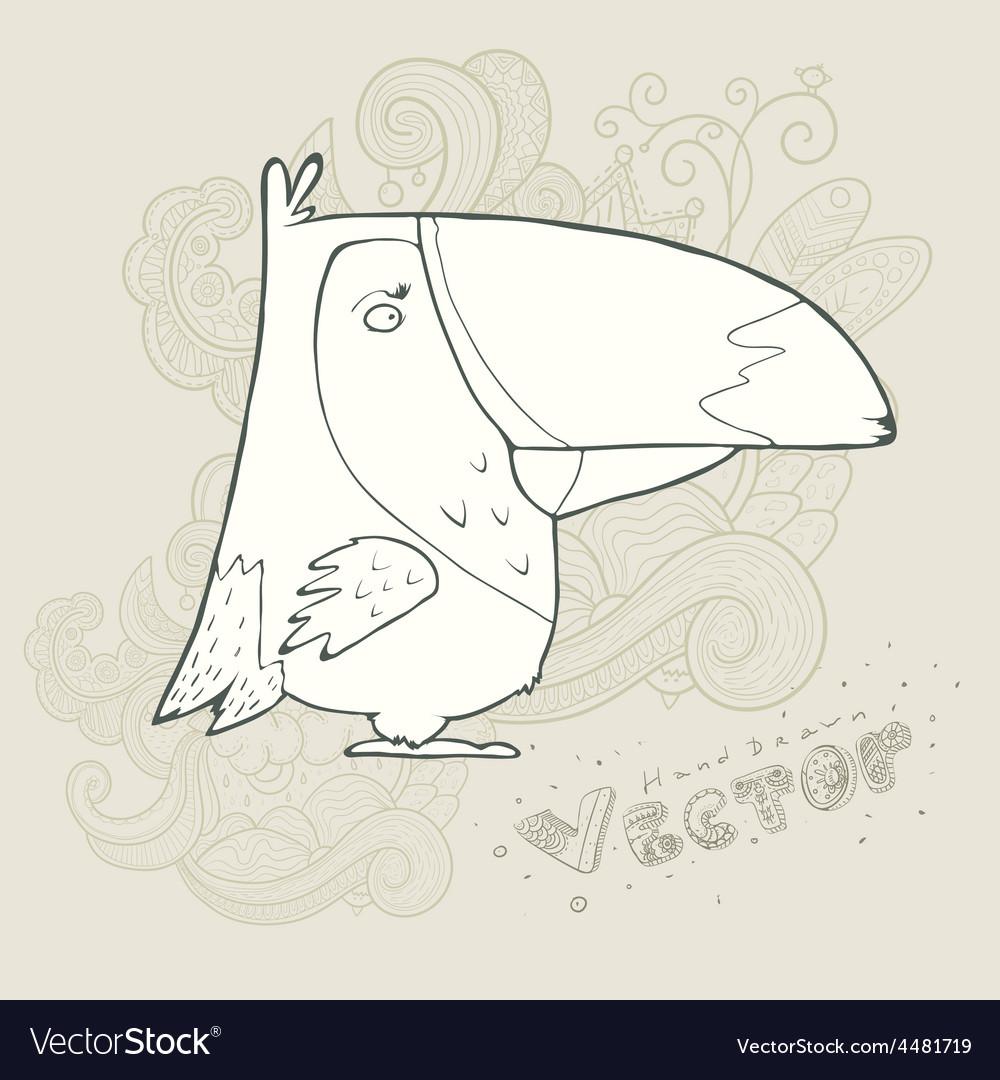 Hand drawn retro cartoon bird vector | Price: 1 Credit (USD $1)