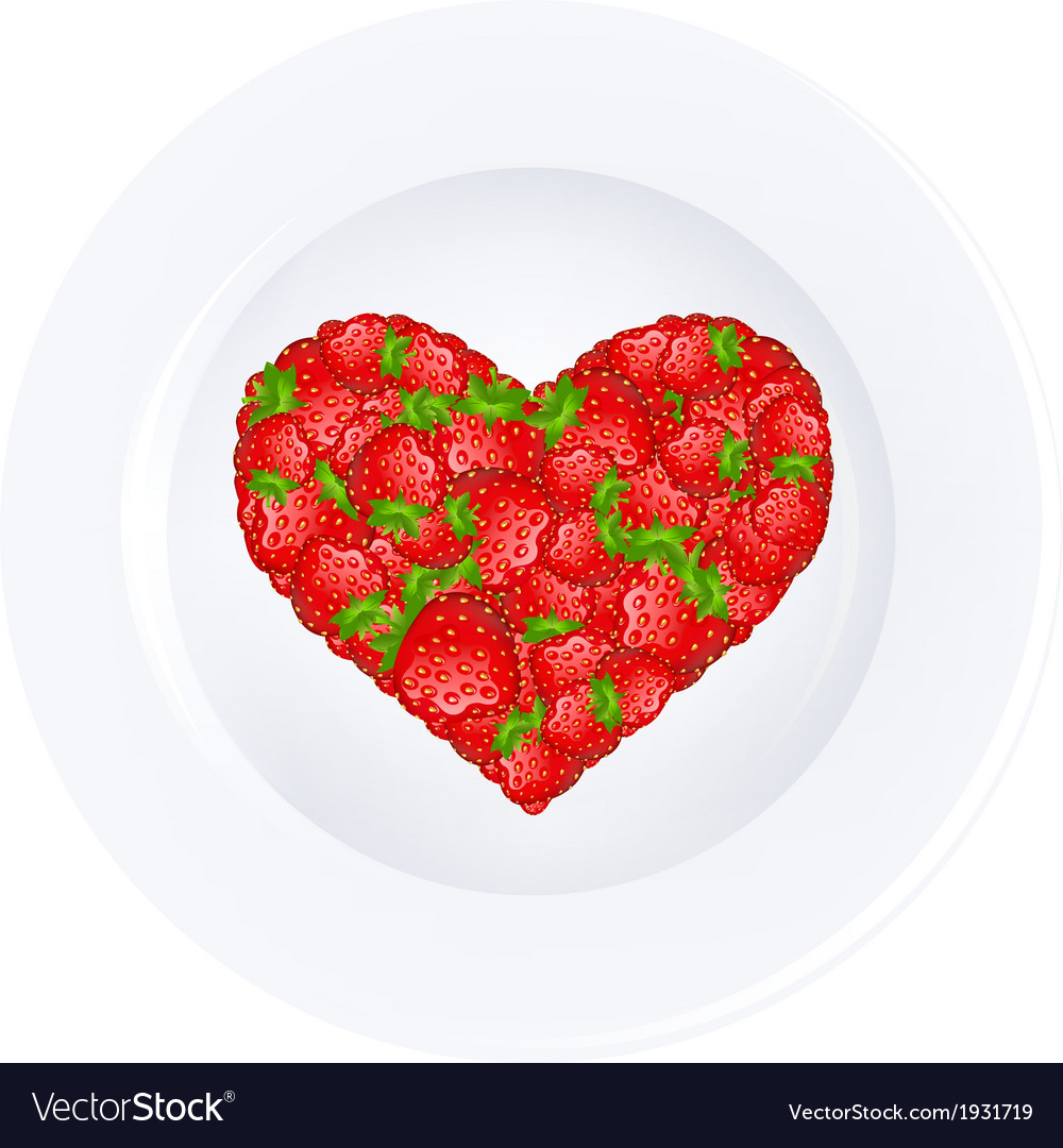 Heart from strawberry on plate vector | Price: 1 Credit (USD $1)