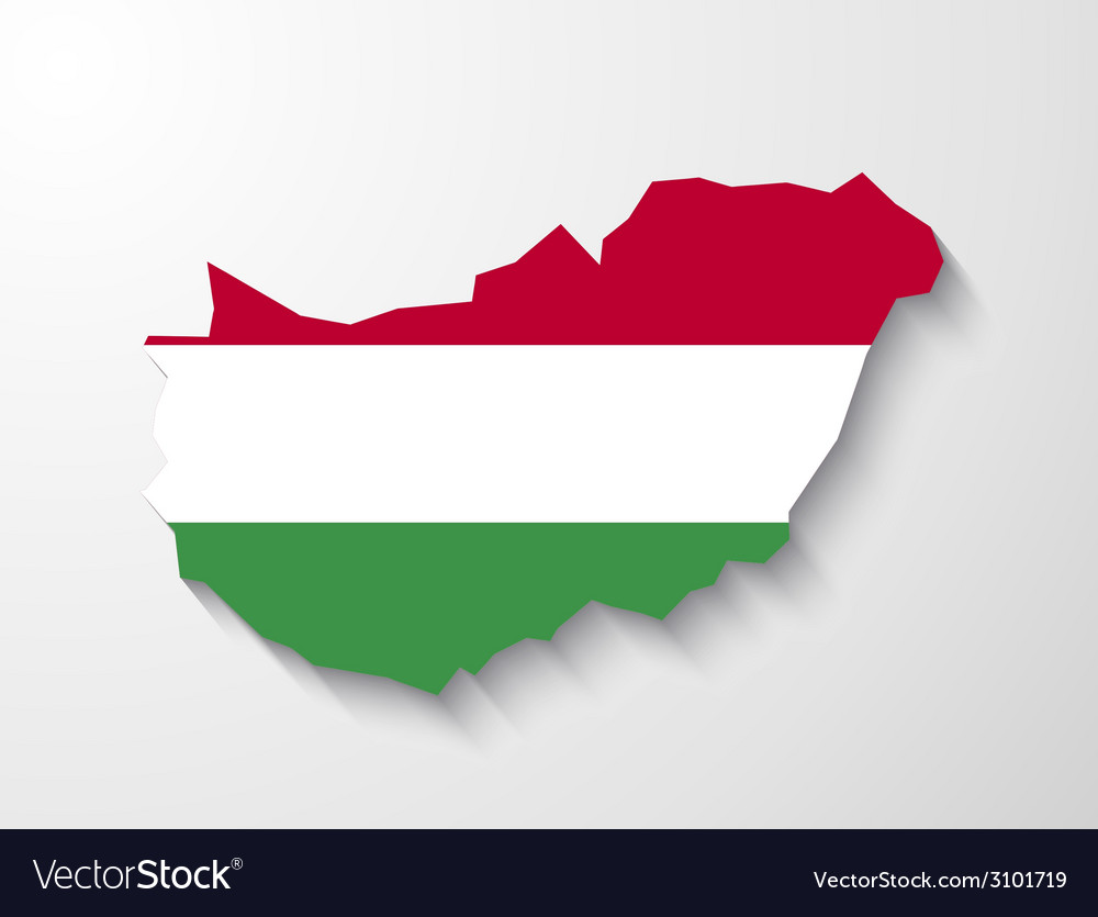 Hungary country map with shadow effect vector | Price: 1 Credit (USD $1)
