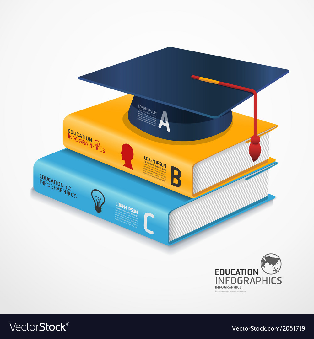 Infographic template book and graduation cap vector | Price: 1 Credit (USD $1)