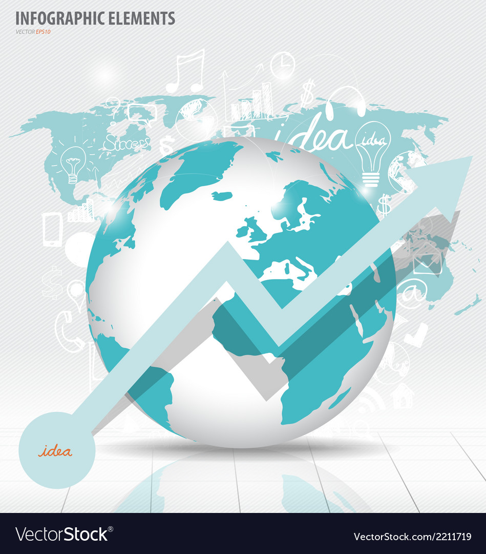 Modern world globe with application icon modern vector | Price: 1 Credit (USD $1)