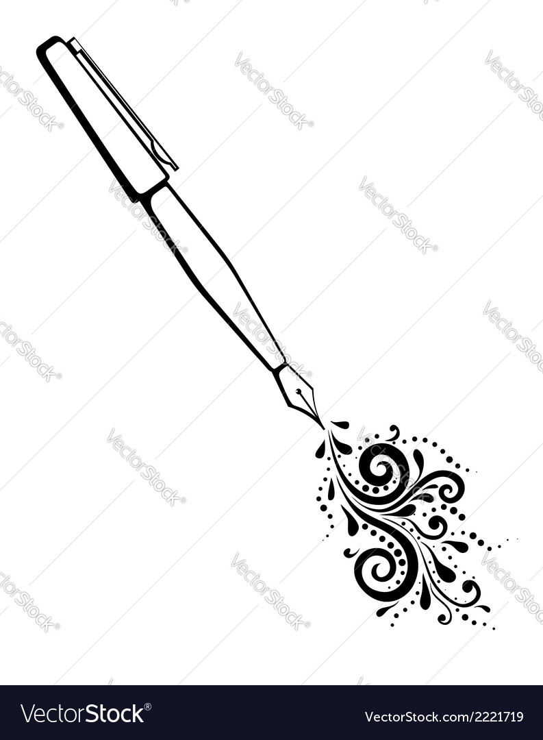 Outline of an ink pen with a painted floral design vector | Price: 1 Credit (USD $1)
