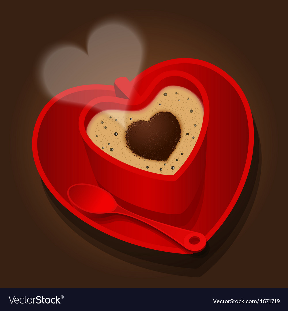 Red cup in heart shape of cappuccino vector | Price: 1 Credit (USD $1)