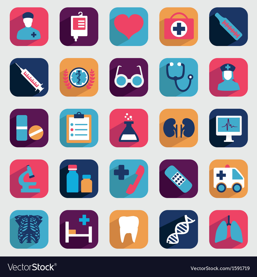 Set of flat medical icons for design vector | Price: 1 Credit (USD $1)