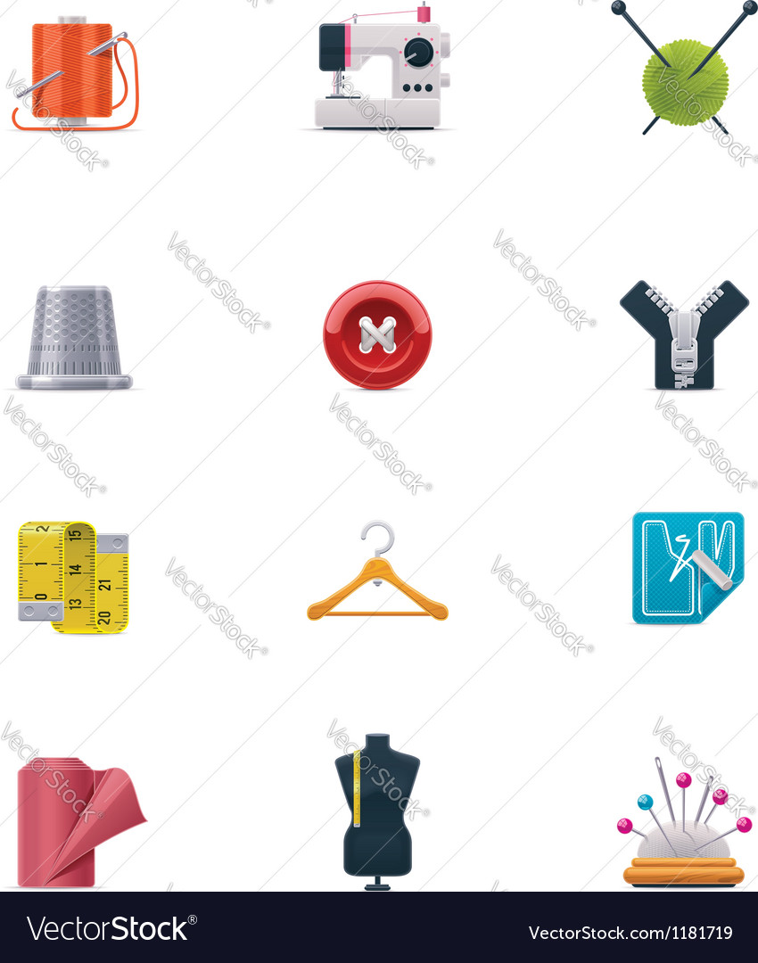 Sewing icon set vector | Price: 3 Credit (USD $3)