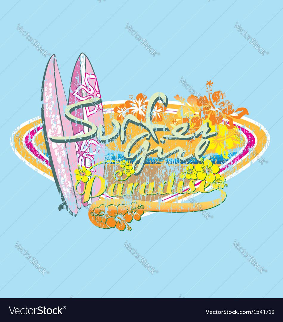 Surfer girl paradise vector | Price: 3 Credit (USD $3)