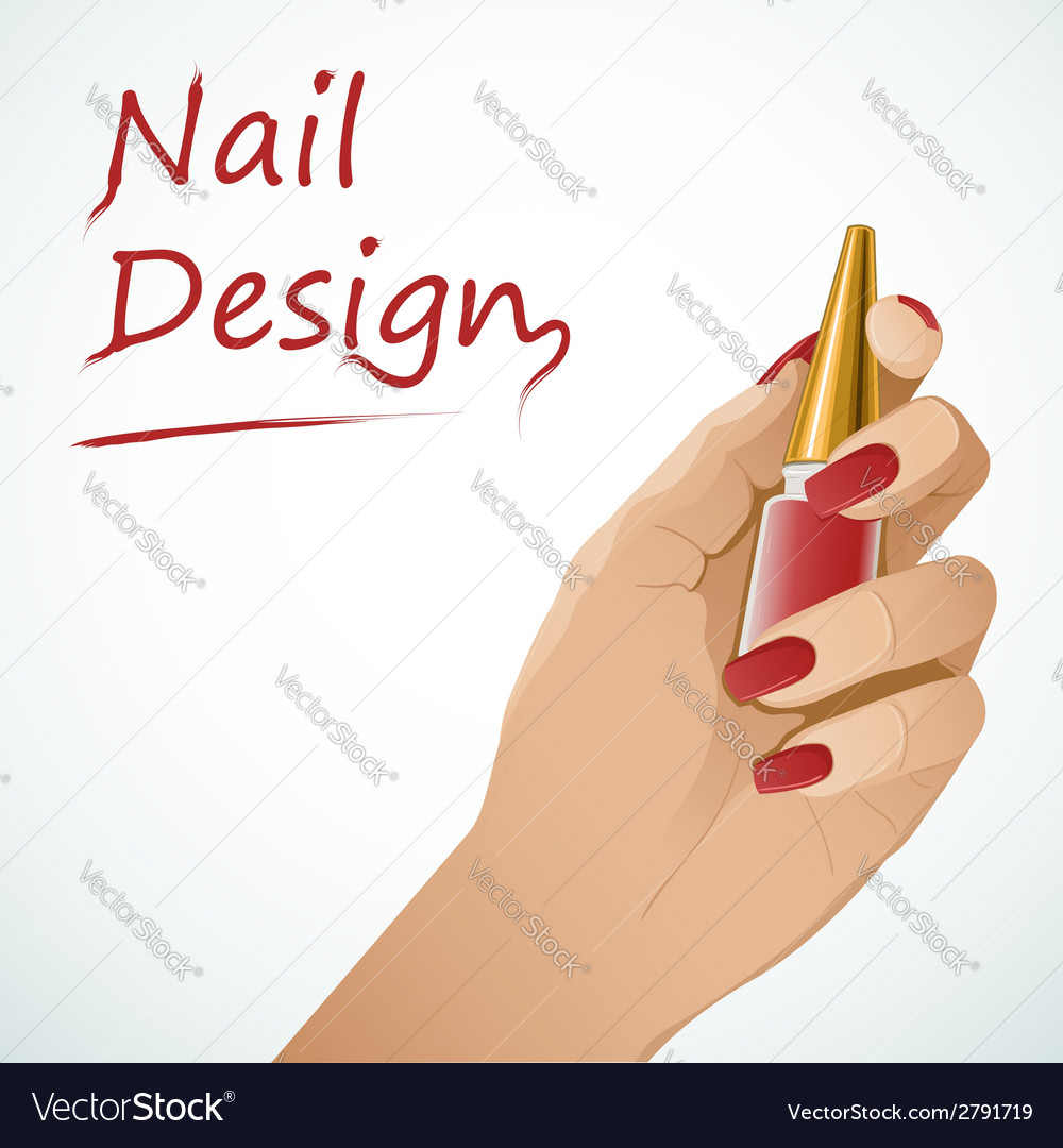 Woman hand holding a bottle with nail lacquer vector | Price: 1 Credit (USD $1)