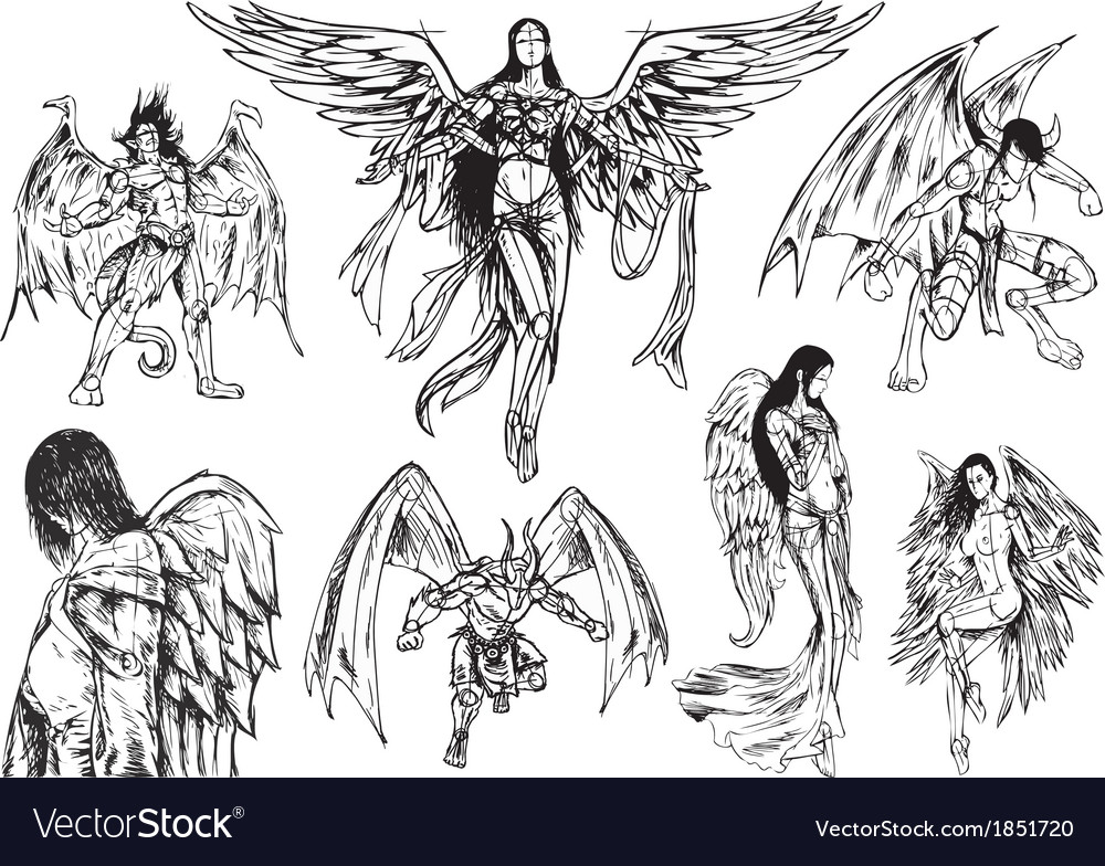 Angels and demons - hand drawn sketch vector | Price: 1 Credit (USD $1)