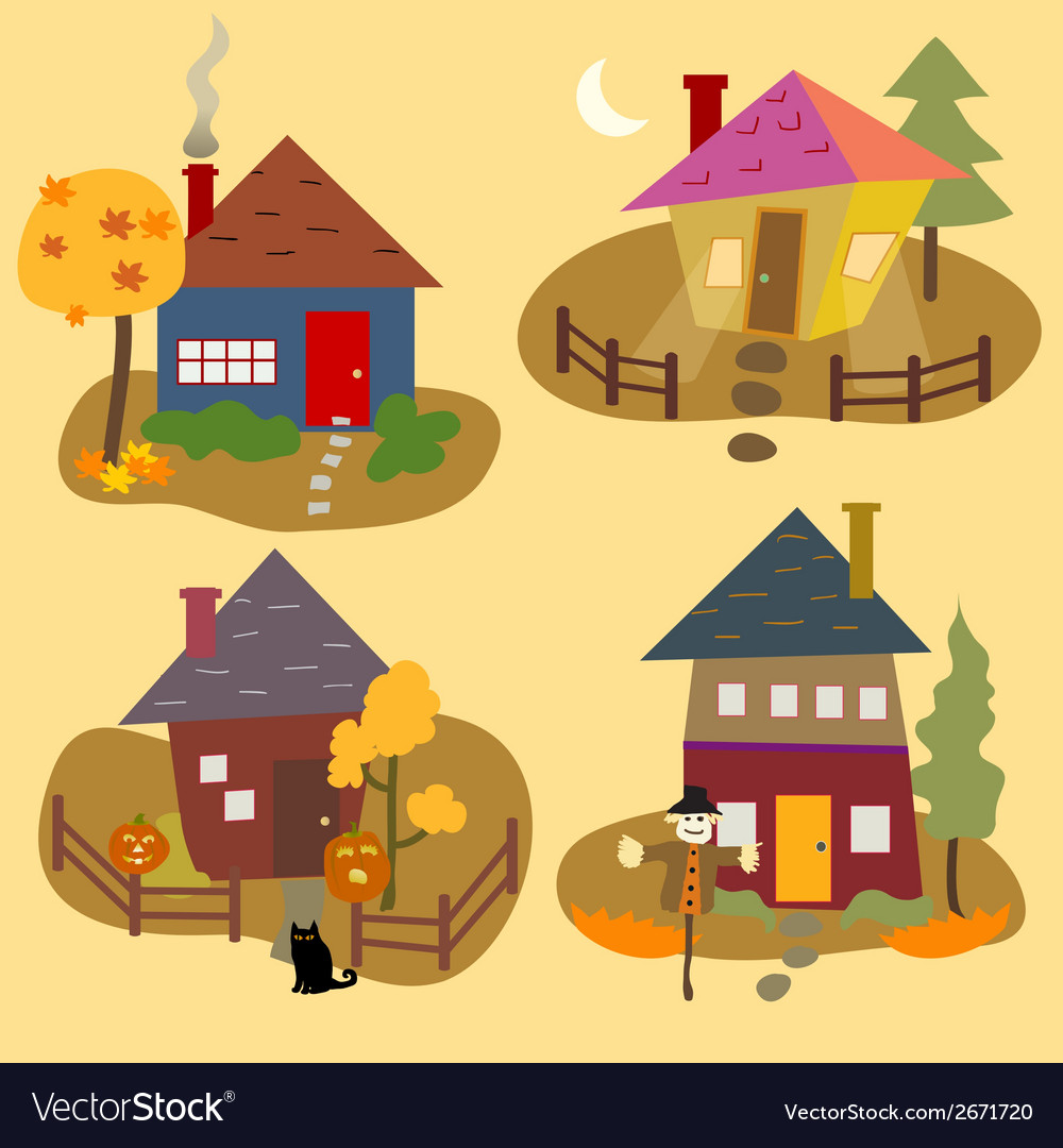 Autumn home icons vector | Price: 1 Credit (USD $1)