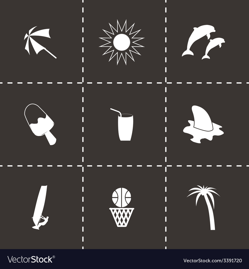 Black summer icons set vector | Price: 1 Credit (USD $1)