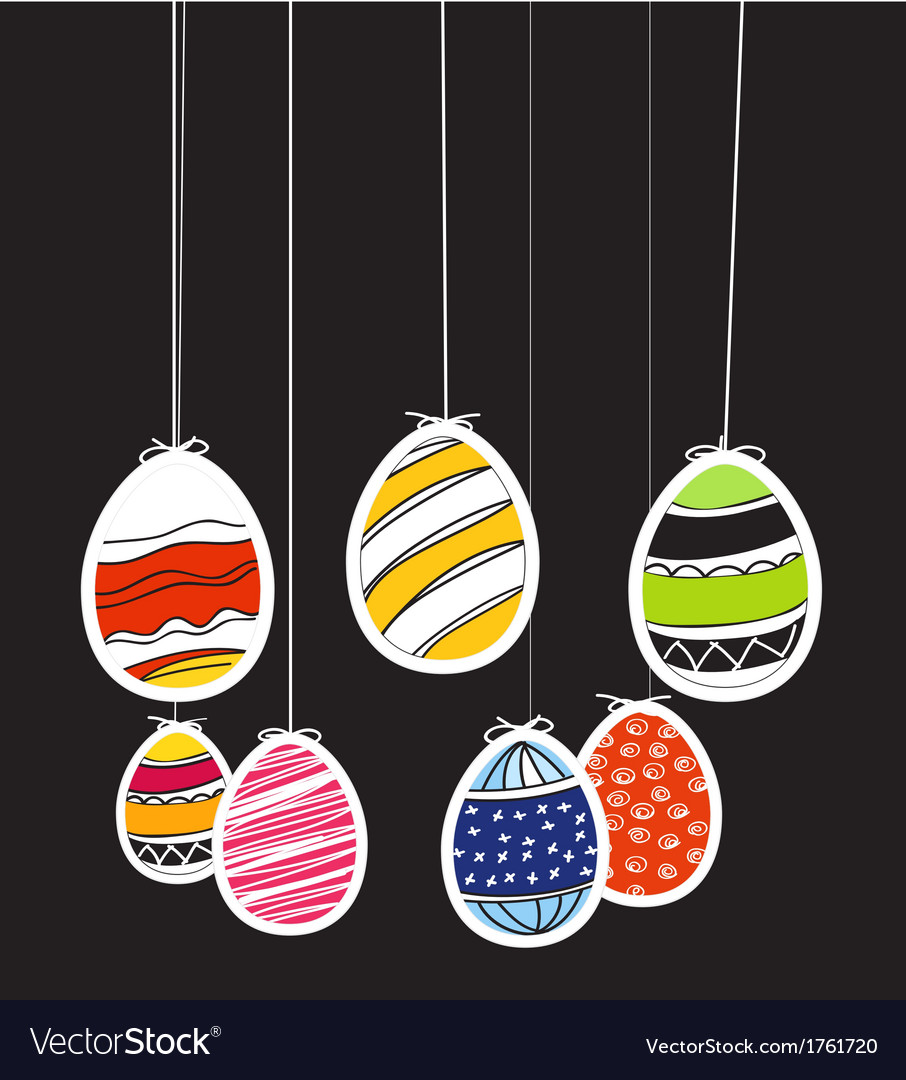 Easter eggs on rope vector | Price: 1 Credit (USD $1)