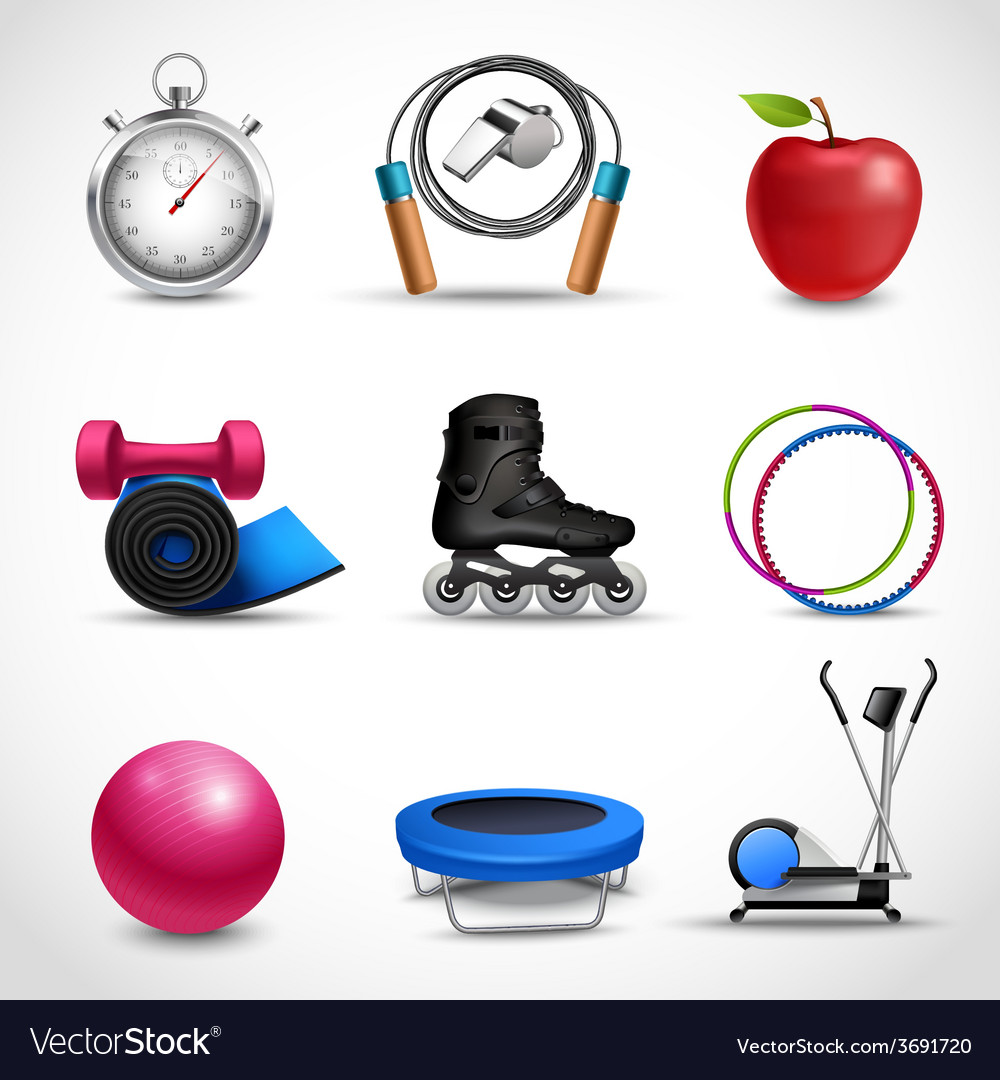 Fitness icons set vector | Price: 3 Credit (USD $3)