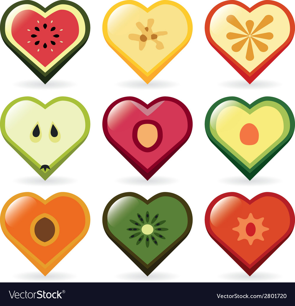 Fruit hearts vector | Price: 1 Credit (USD $1)