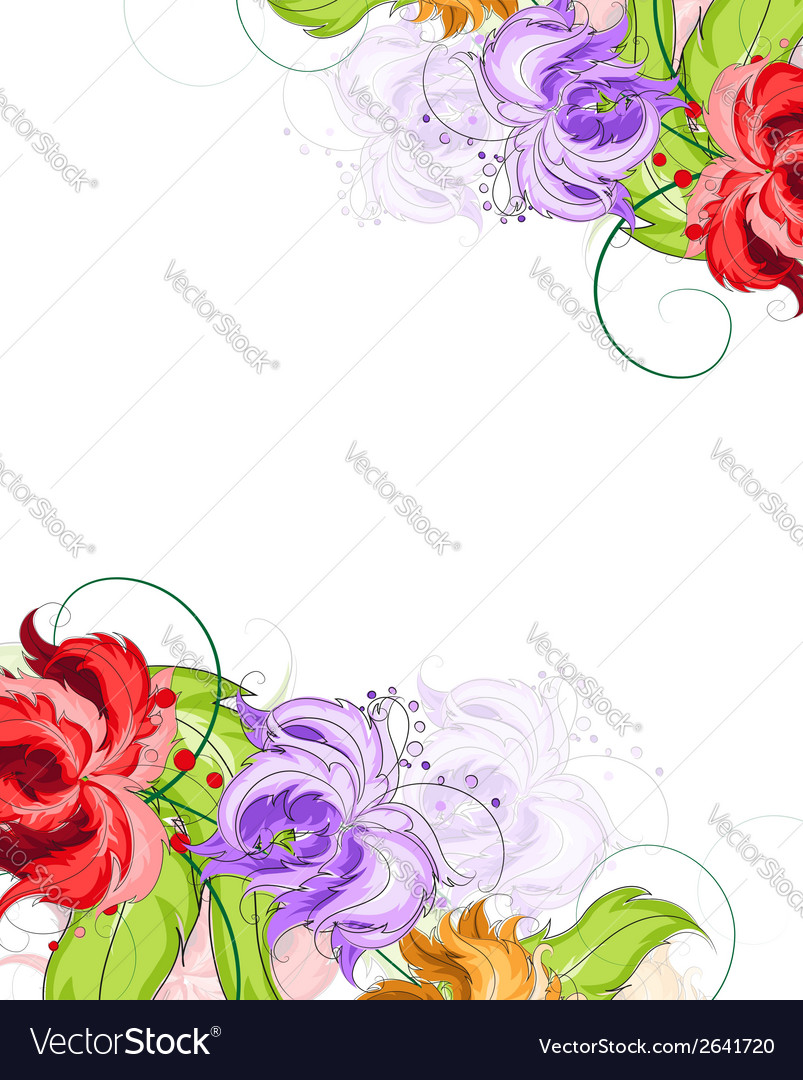 Hand drawn flowers background vector | Price: 1 Credit (USD $1)