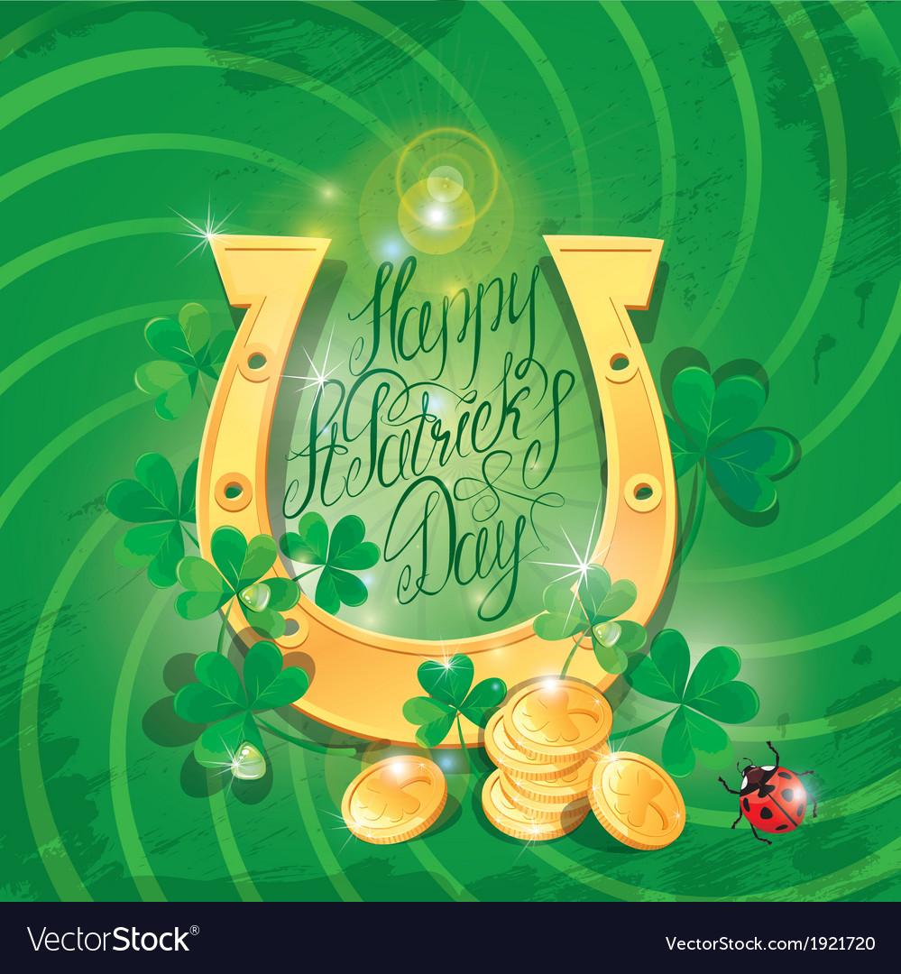 Happy st patricks day shamrock horseshoe ladyb vector | Price: 1 Credit (USD $1)