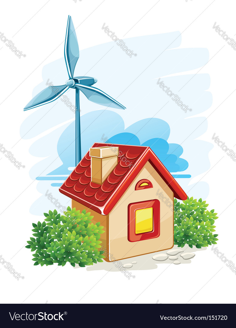 House with wind turbine vector | Price: 1 Credit (USD $1)