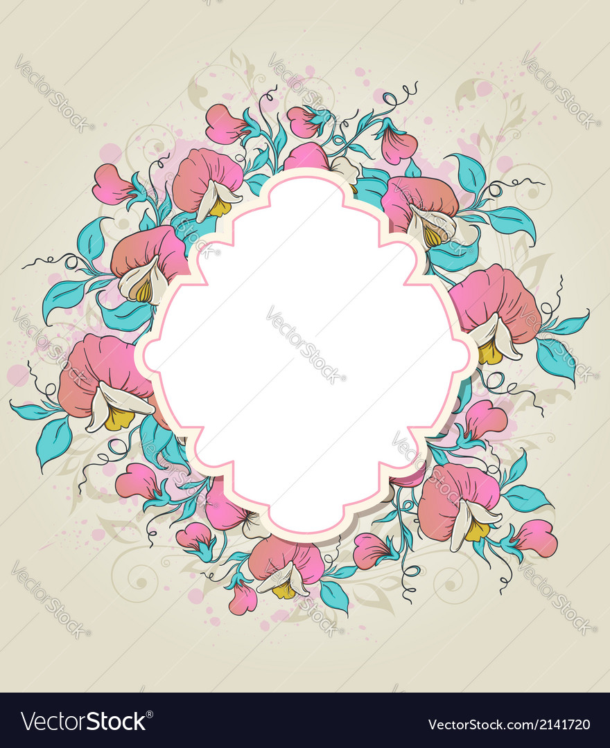 Label and sweet pea vector | Price: 1 Credit (USD $1)