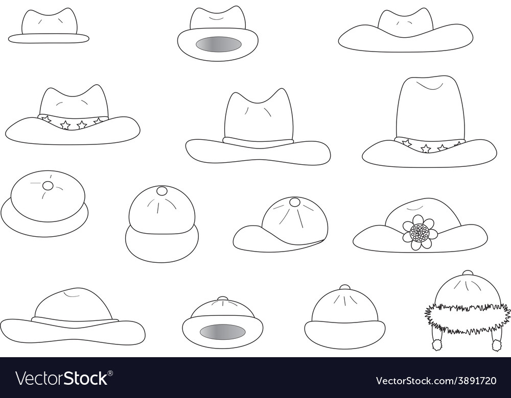 Linear variety cartoon hats vector | Price: 1 Credit (USD $1)