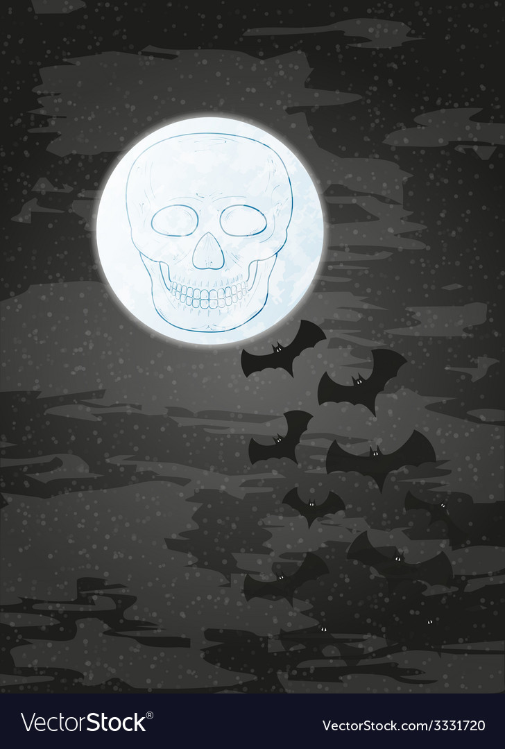 Night with moon skull and bats vector | Price: 1 Credit (USD $1)