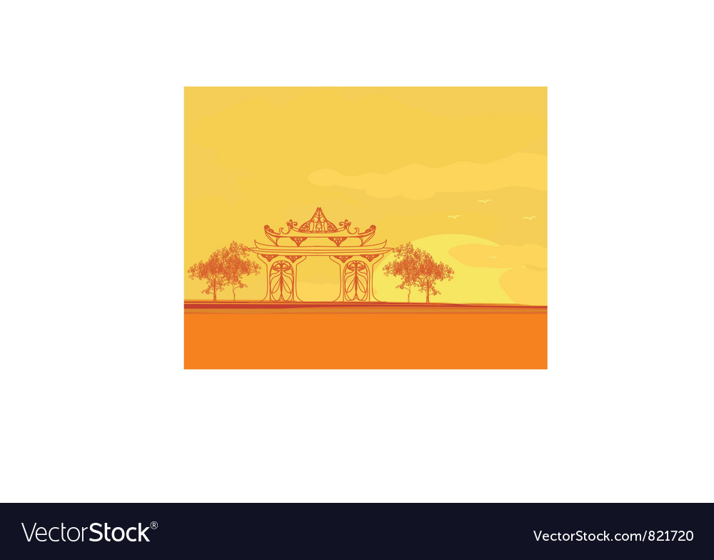 Old paper with asian landscape vector | Price: 1 Credit (USD $1)